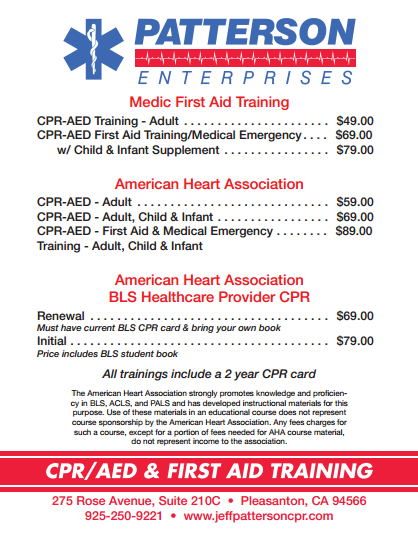 Jeff Patterson CPR Price List
