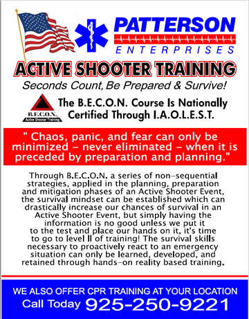 Seconds Count, Be Prepared, Active Shooter Training